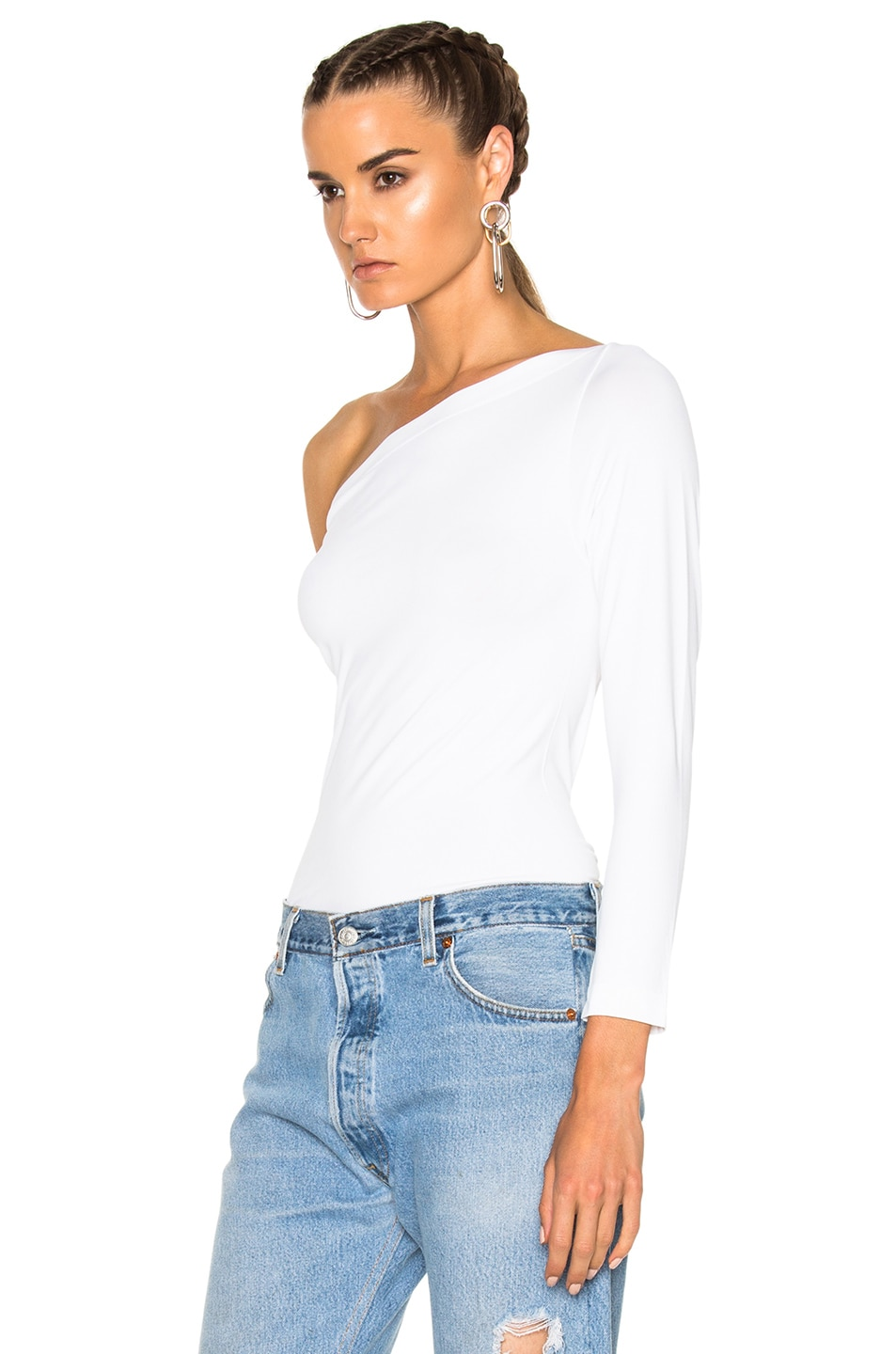 Image 2 of Helmut Lang One Shoulder Long Sleeve Top in White