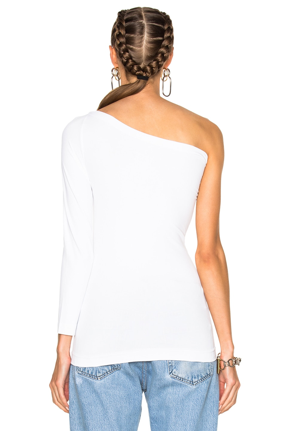 Image 4 of Helmut Lang One Shoulder Long Sleeve Top in White