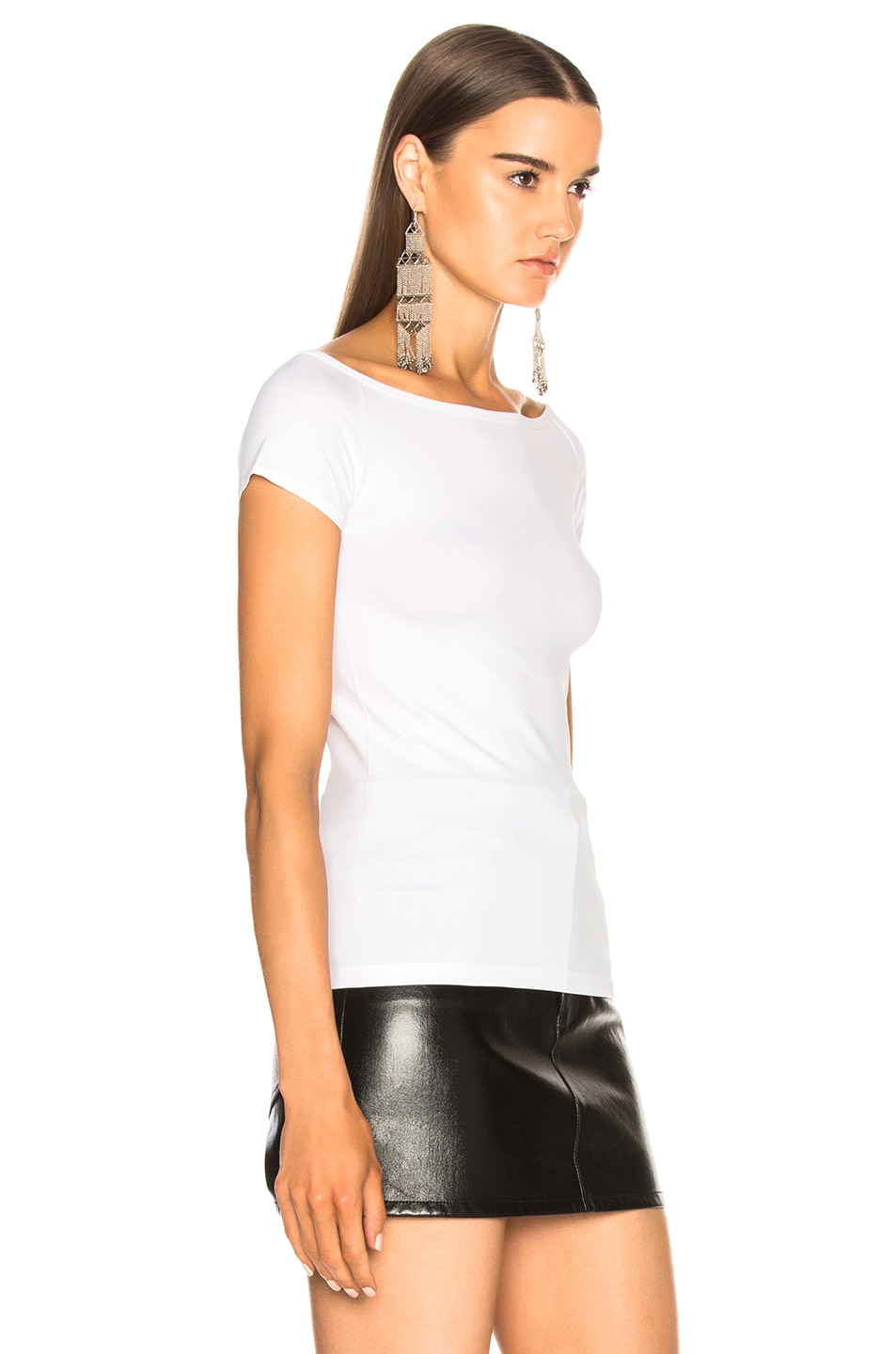 Image 2 of Helmut Lang Open Boat Neck Tee in Optic White