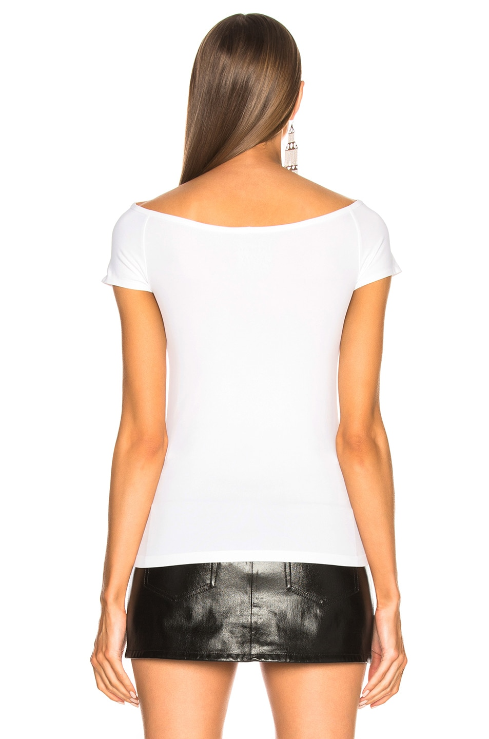 Image 3 of Helmut Lang Open Boat Neck Tee in Optic White
