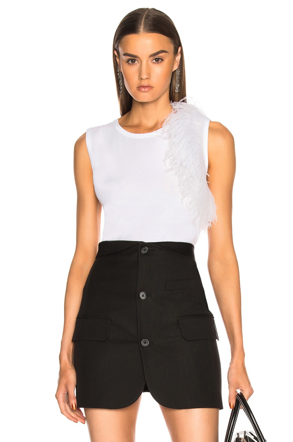 Image 1 of Helmut Lang Feather Tank Top in White
