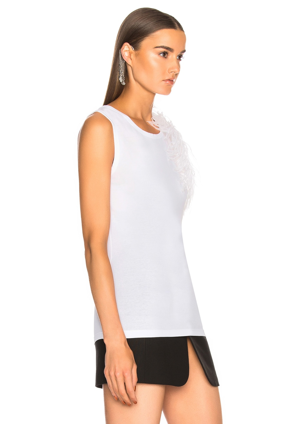 Image 2 of Helmut Lang Feather Tank Top in White