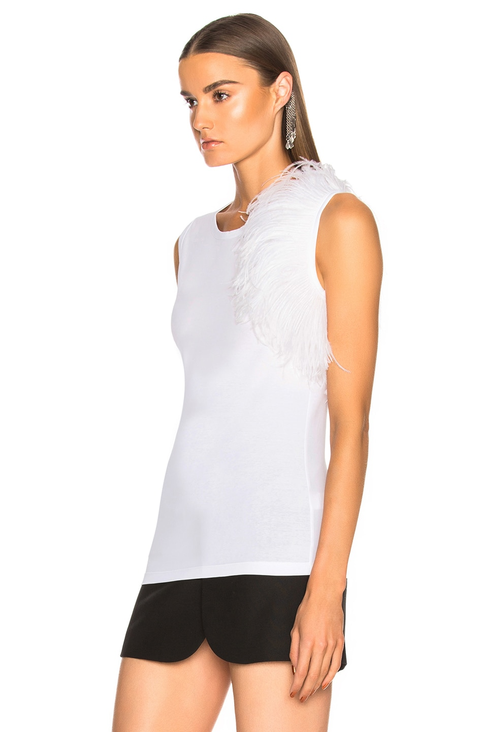Image 3 of Helmut Lang Feather Tank Top in White