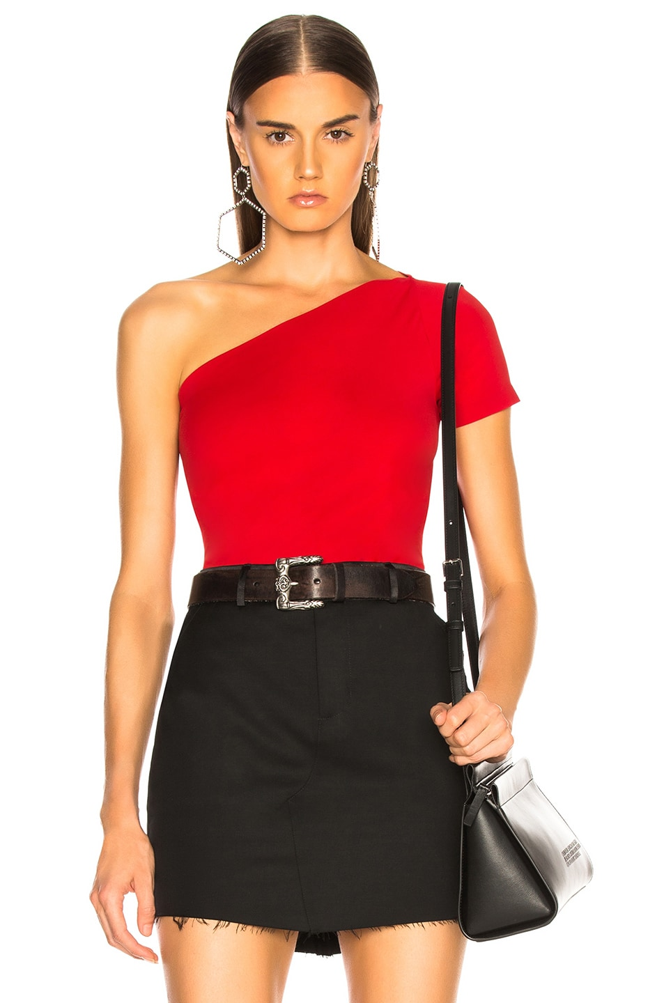 Image 1 of Helmut Lang Asymmetric Tube Tank Top in Scarlet