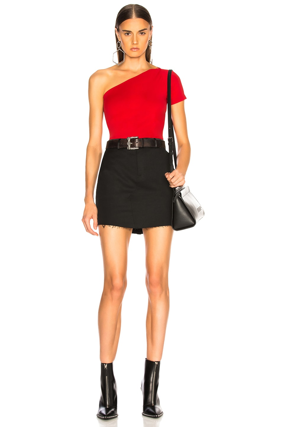 Image 6 of Helmut Lang Asymmetric Tube Tank Top in Scarlet