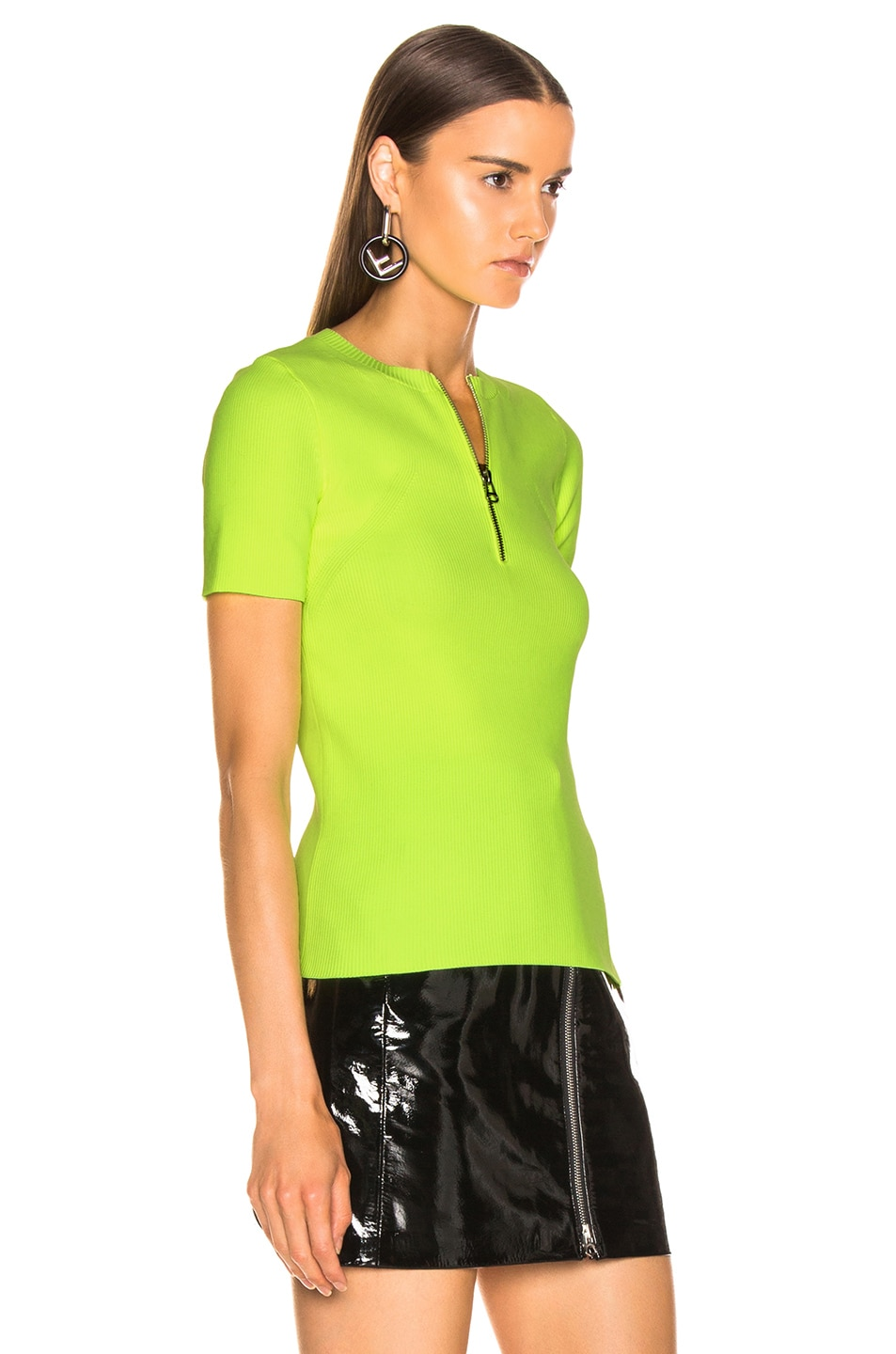 Image 2 of Helmut Lang Zip Crewneck Tee in Plastic Green