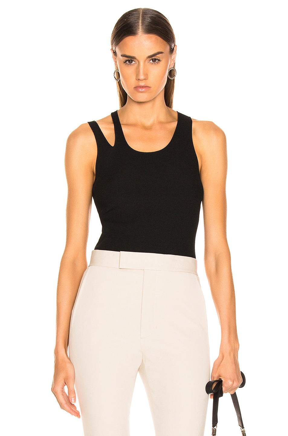Image 1 of Helmut Lang Ribbed Slash Tank in Black