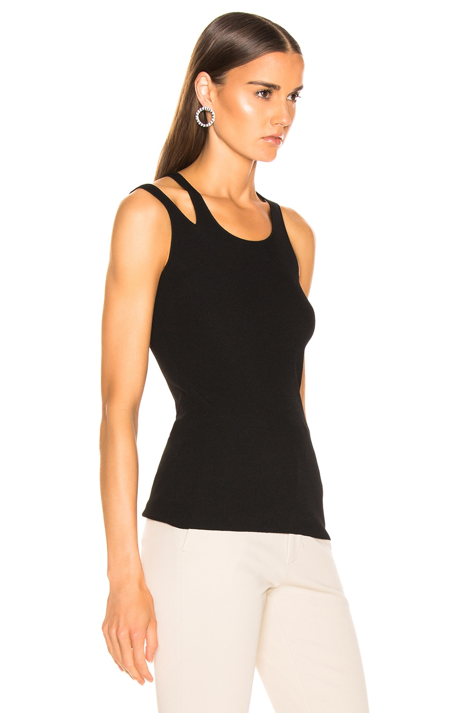 Image 2 of Helmut Lang Ribbed Slash Tank in Black