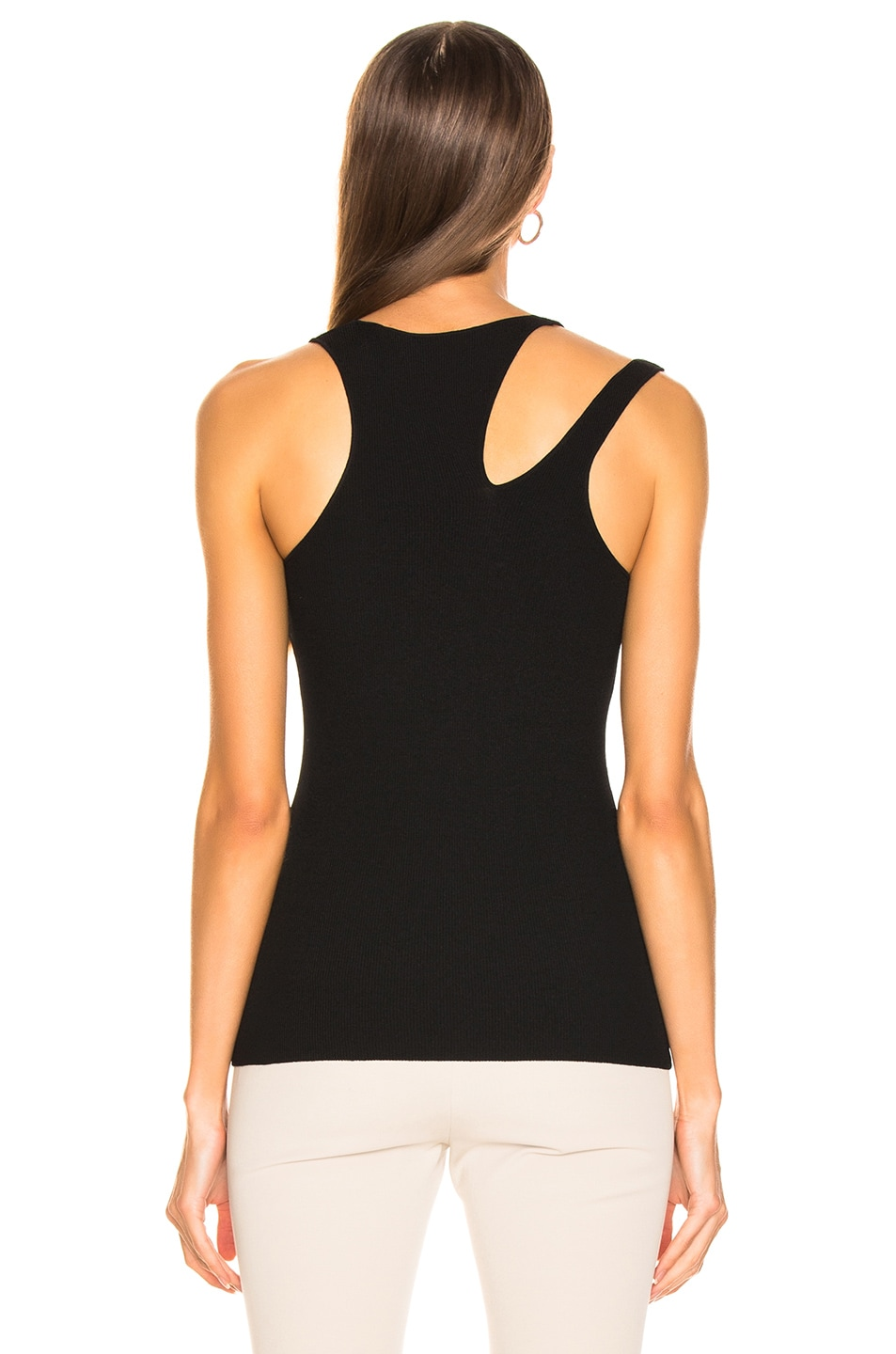 Image 3 of Helmut Lang Ribbed Slash Tank in Black
