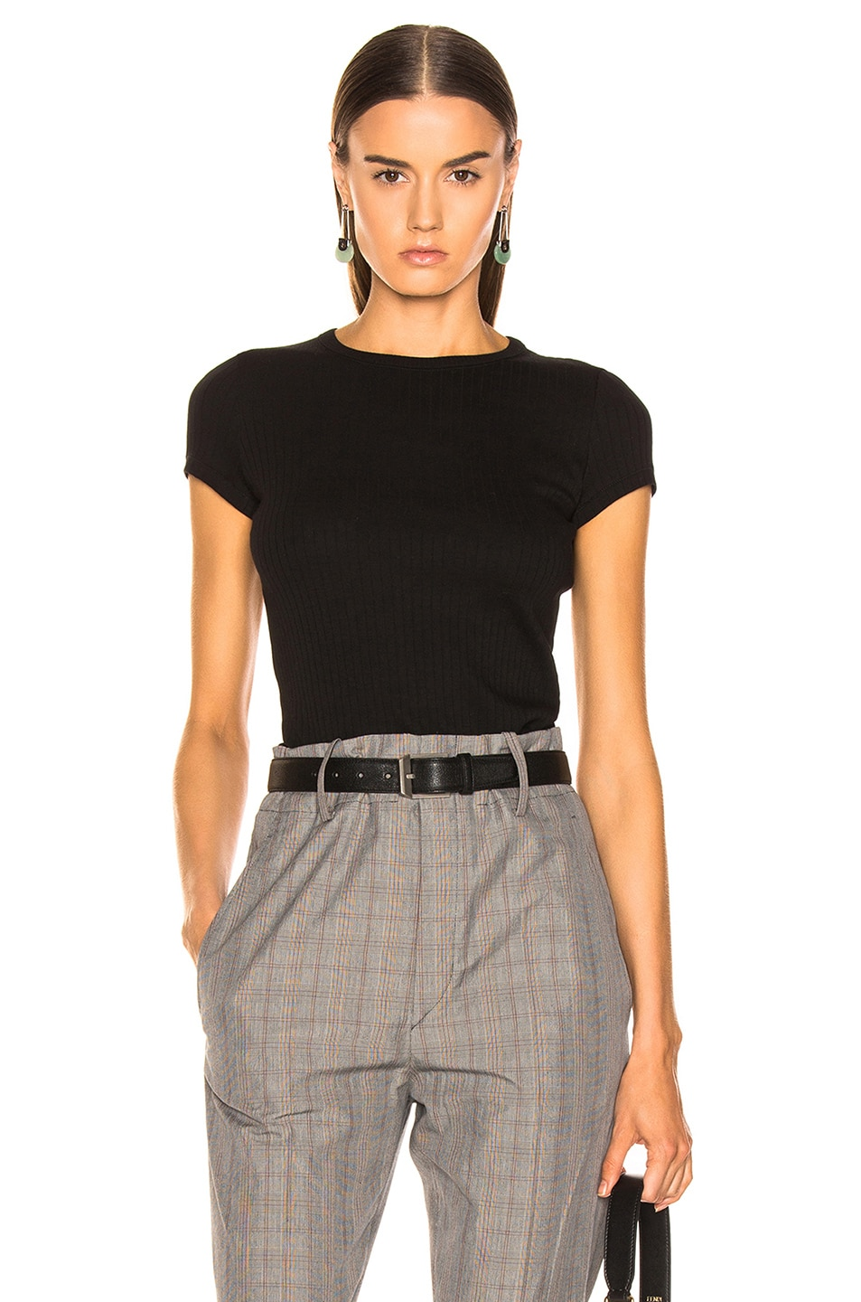 Image 1 of Helmut Lang Ribbed Baby Tee in Black