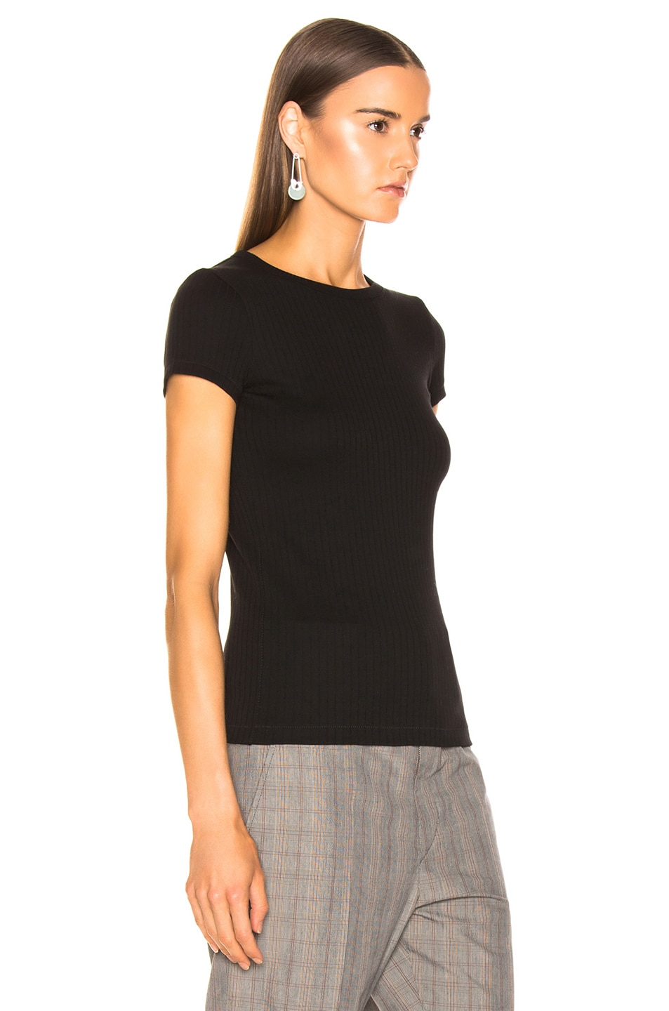 Image 2 of Helmut Lang Ribbed Baby Tee in Black