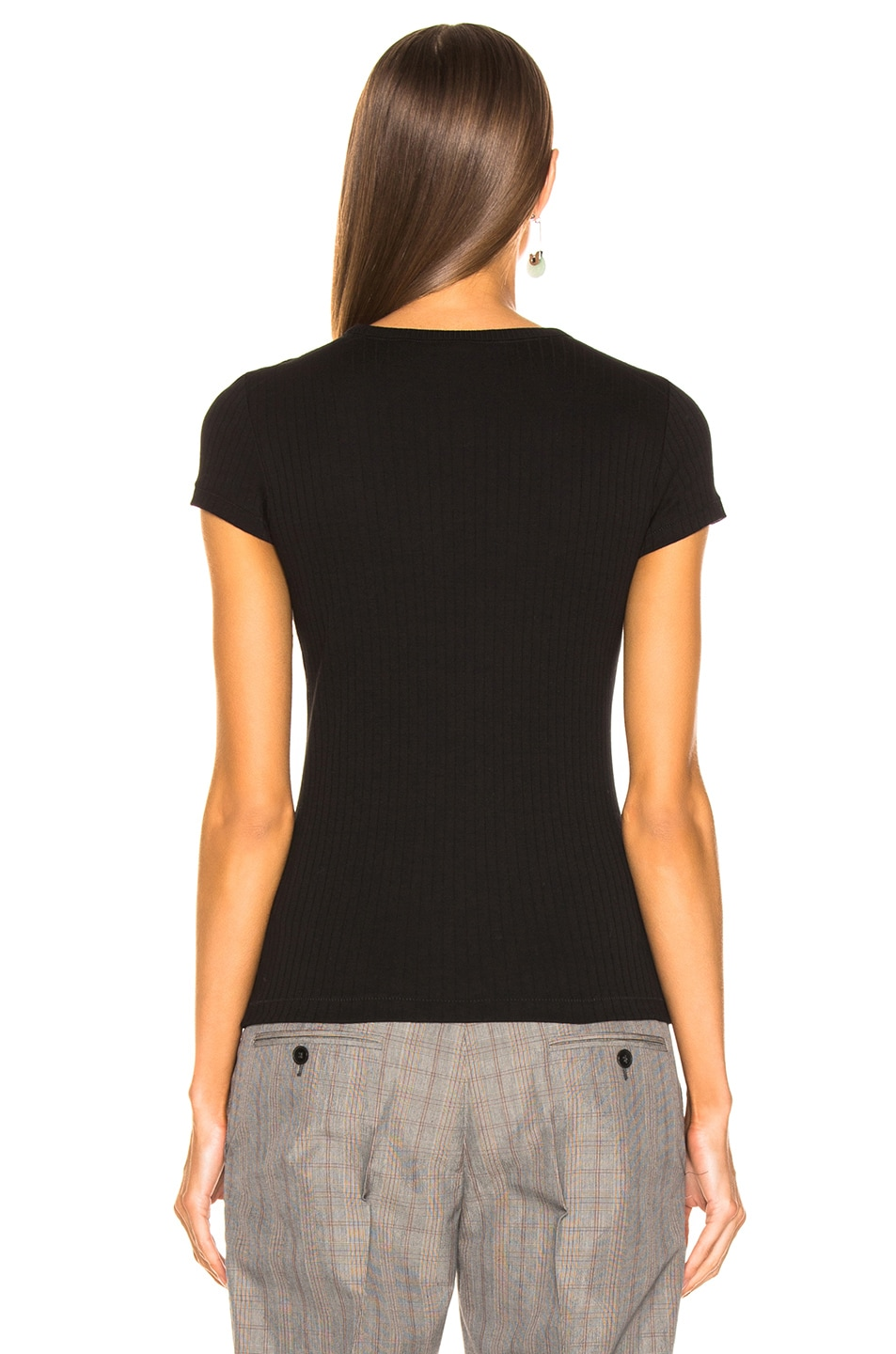 Image 3 of Helmut Lang Ribbed Baby Tee in Black