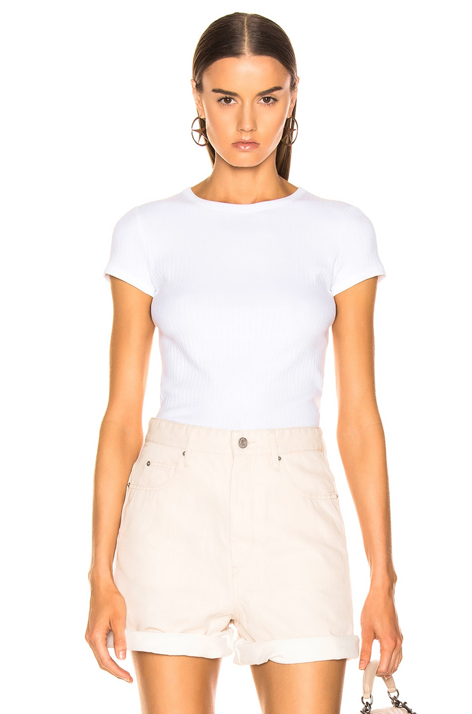 Image 1 of Helmut Lang Ribbed Baby Tee in Optic White