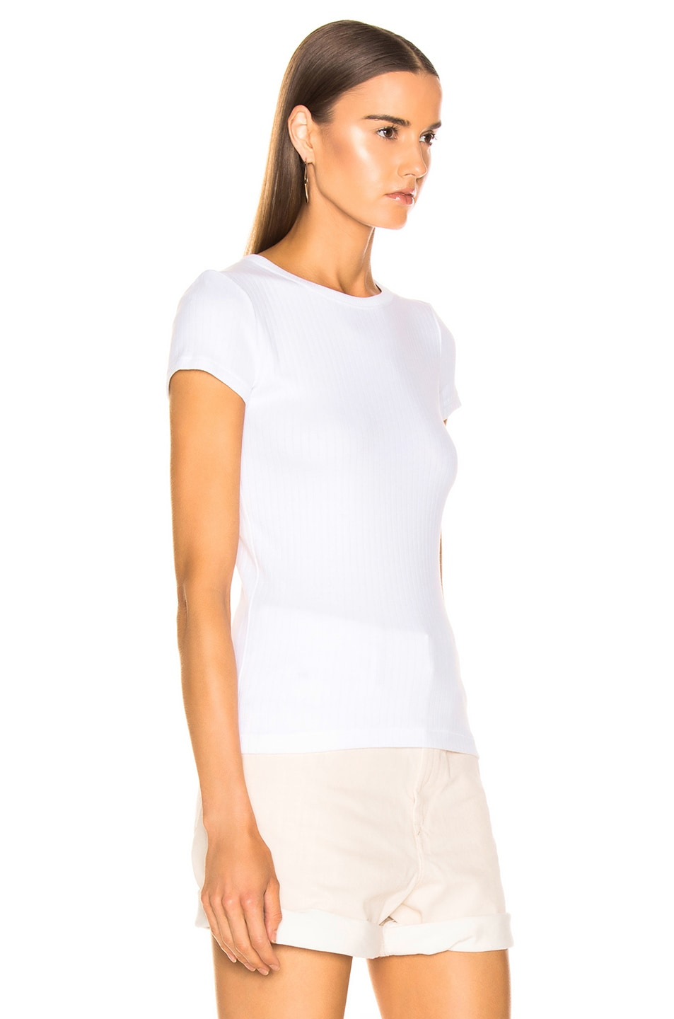 Image 2 of Helmut Lang Ribbed Baby Tee in Optic White