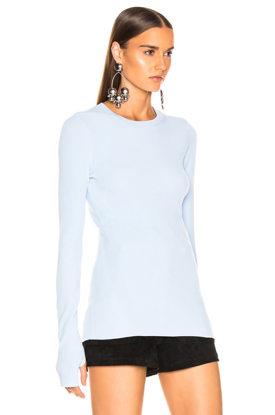 Image 2 of Helmut Lang Long Sleeve Crew Neck in Light Wave