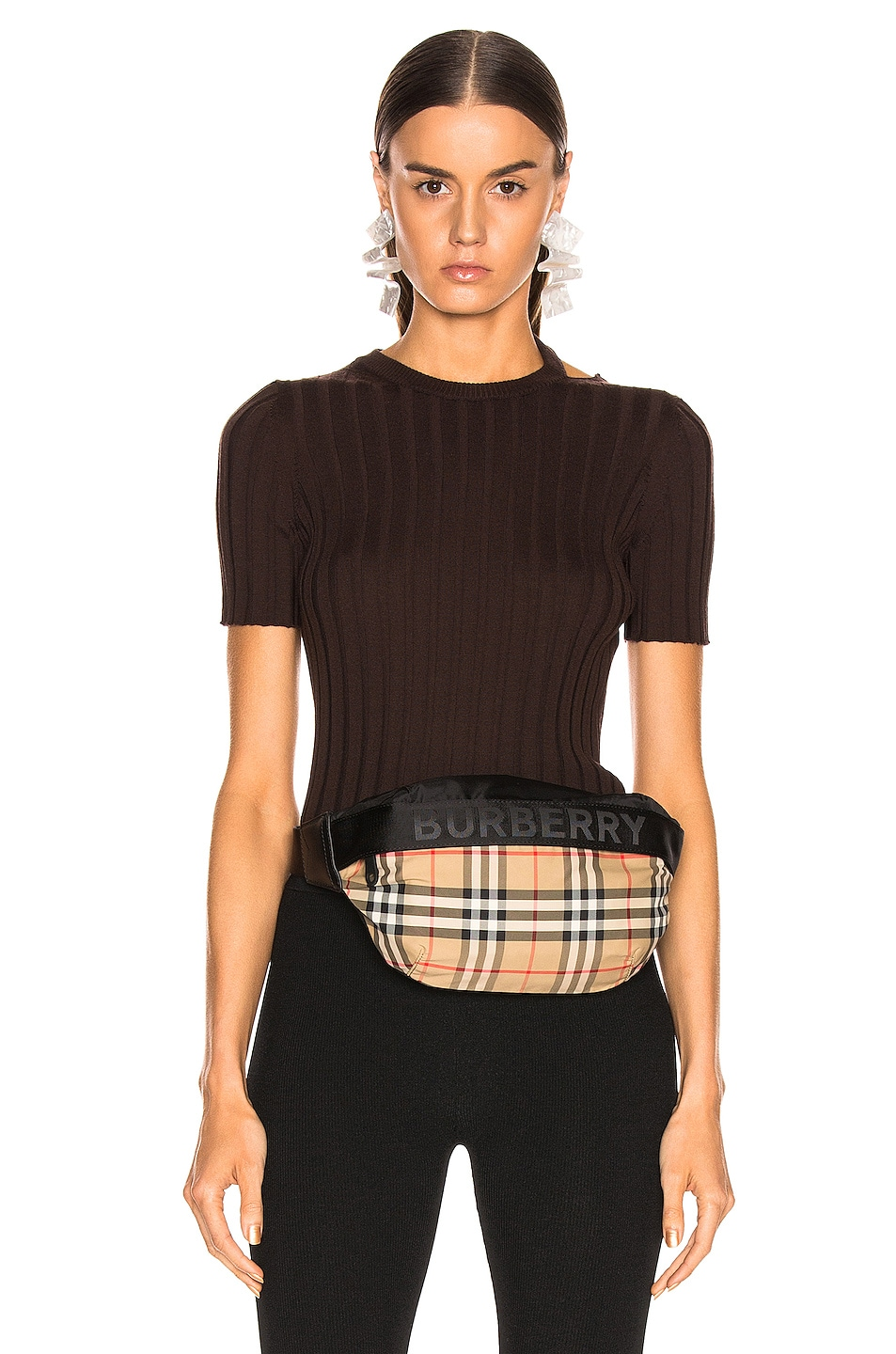 Image 1 of Helmut Lang Short Sleeve Slash Crewneck Top in Chocolate