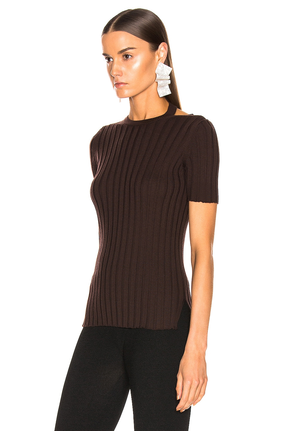 Image 3 of Helmut Lang Short Sleeve Slash Crewneck Top in Chocolate