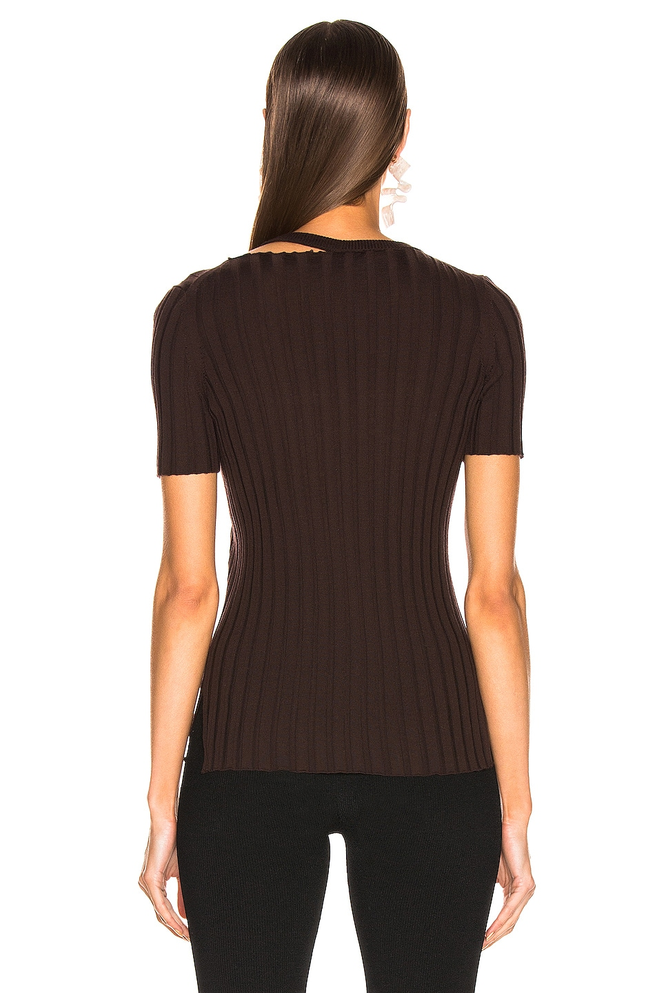 Image 4 of Helmut Lang Short Sleeve Slash Crewneck Top in Chocolate