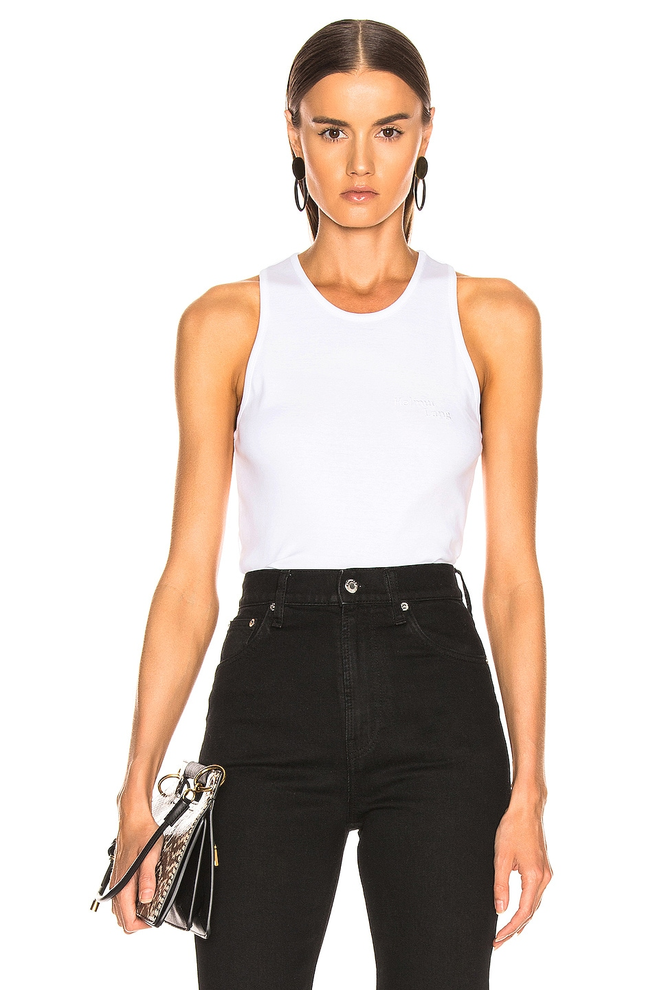 Image 1 of Helmut Lang Stacked Logo Tank Top in Chalk White