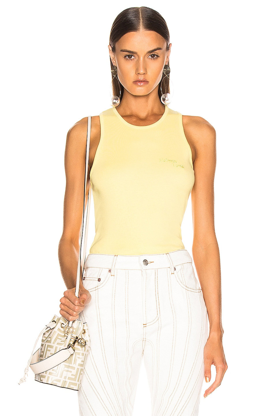 Image 1 of Helmut Lang Stacked Logo Tank Top in Citric Yellow