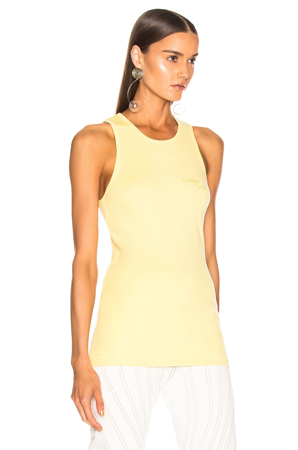 Image 2 of Helmut Lang Stacked Logo Tank Top in Citric Yellow
