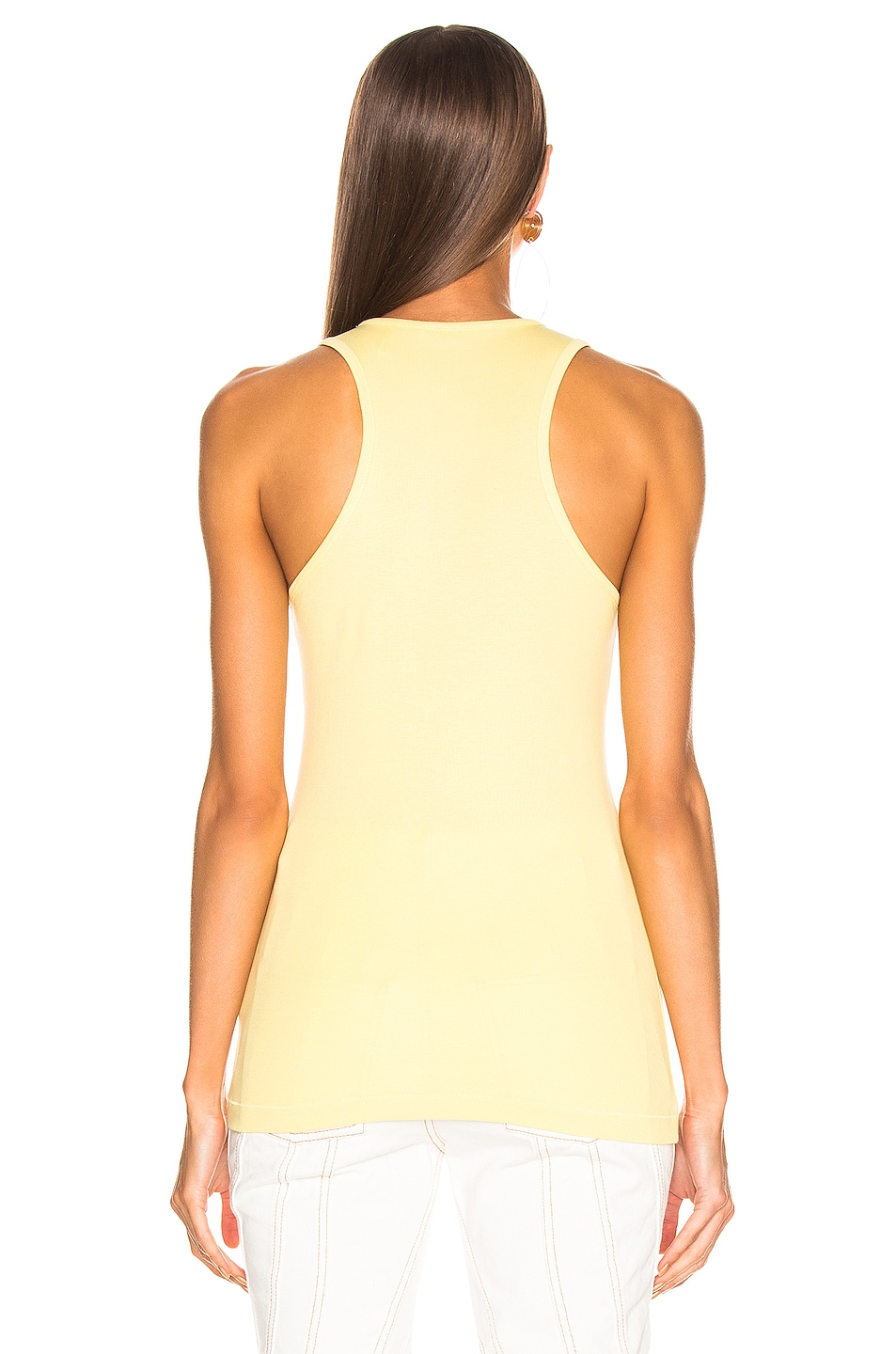 Image 3 of Helmut Lang Stacked Logo Tank Top in Citric Yellow