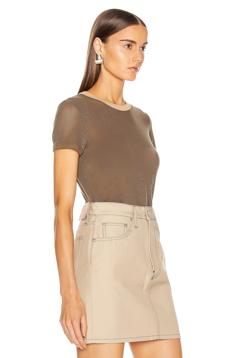 Image 2 of Helmut Lang Mesh Baby Tee in Dark Resin & Camel