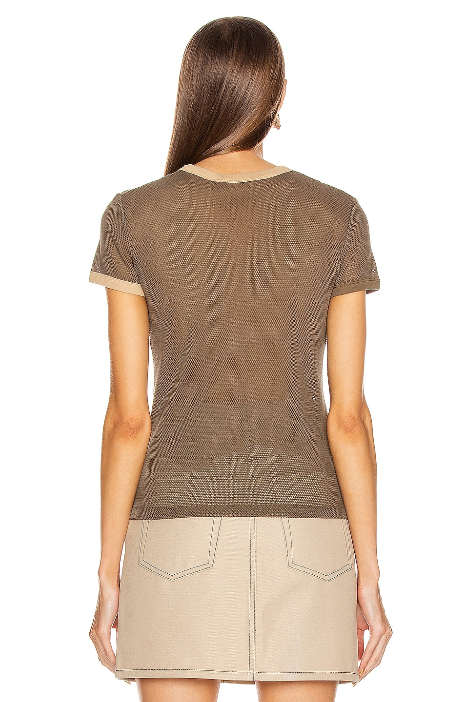 Image 3 of Helmut Lang Mesh Baby Tee in Dark Resin & Camel