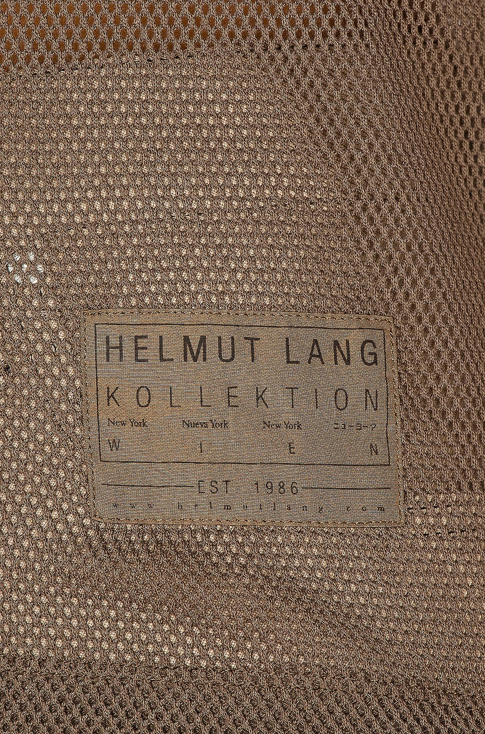 Image 5 of Helmut Lang Mesh Baby Tee in Dark Resin & Camel