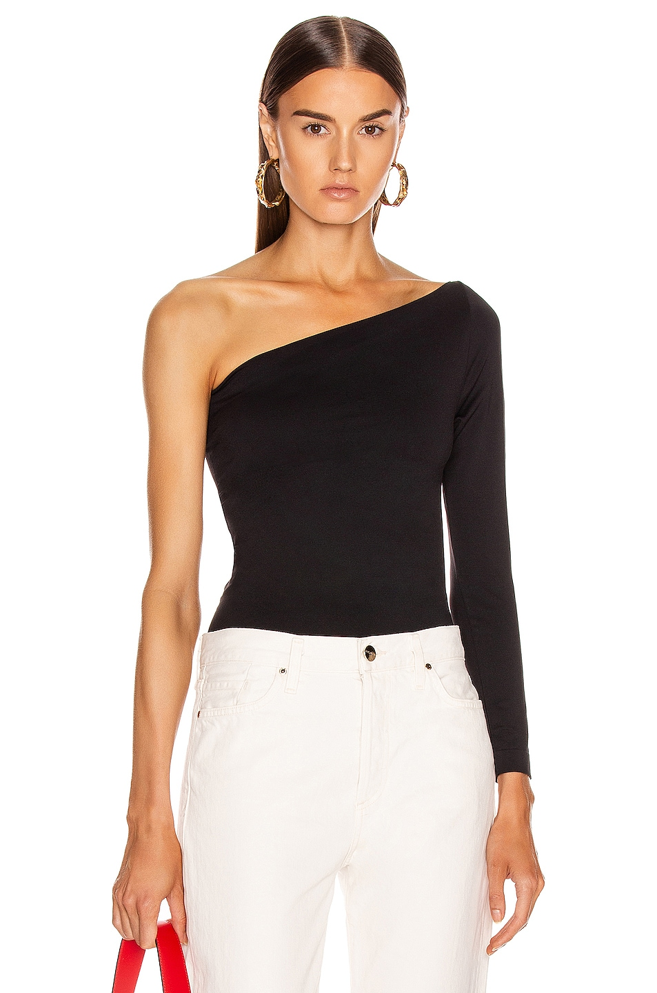 Image 1 of Helmut Lang One Shoulder Tee in Black