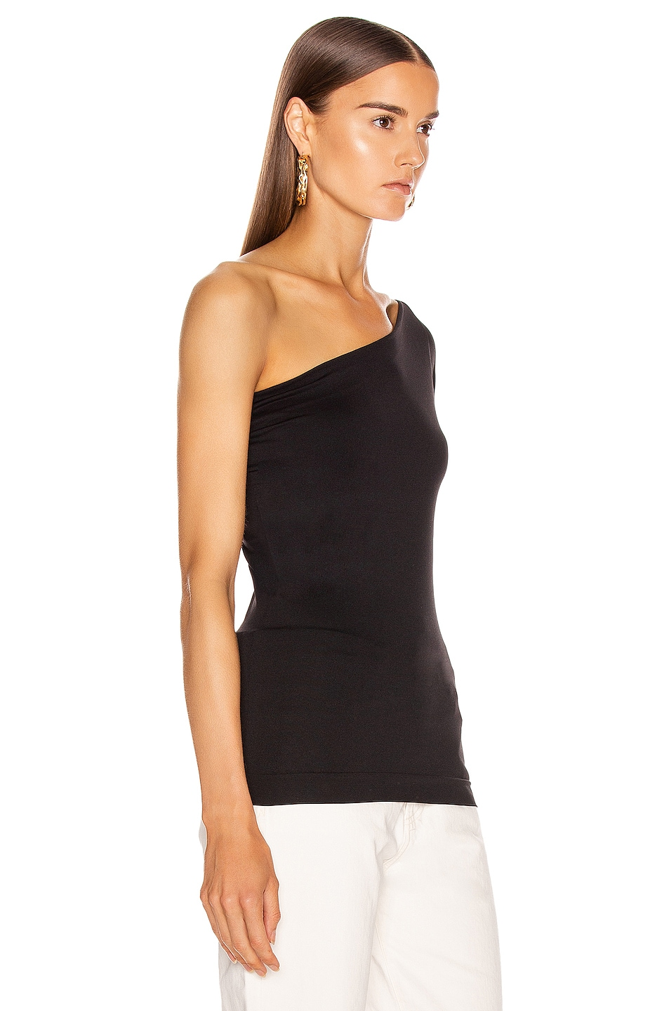 Image 2 of Helmut Lang One Shoulder Tee in Black
