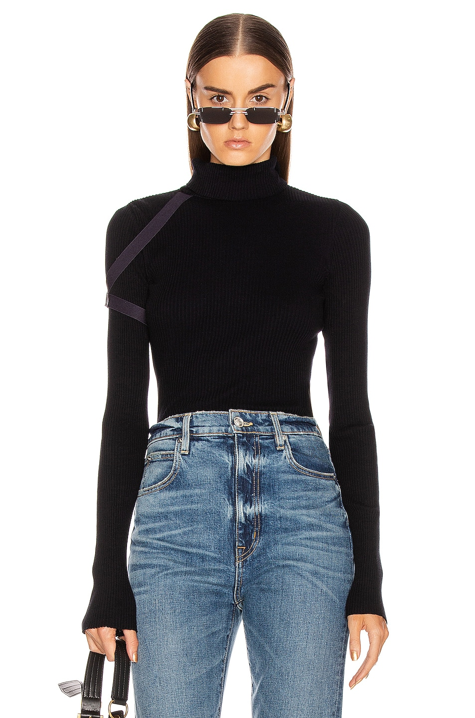 Image 1 of Helmut Lang Rib Turtleneck Top in Ink