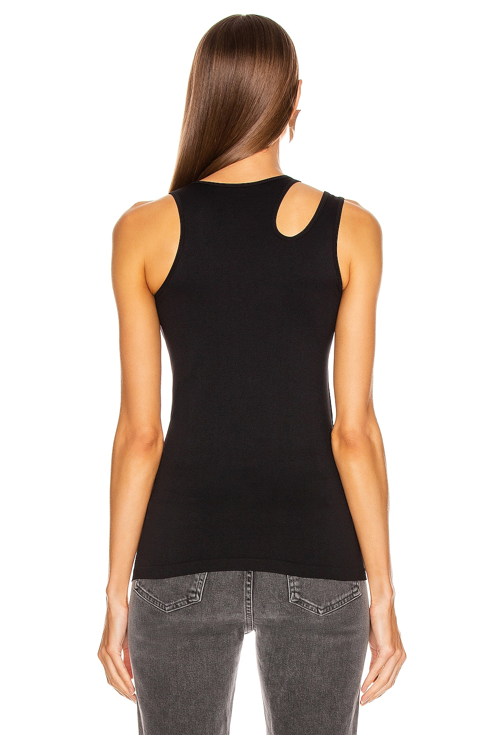 Image 4 of Helmut Lang Slashed Seamless Tank Top in Black