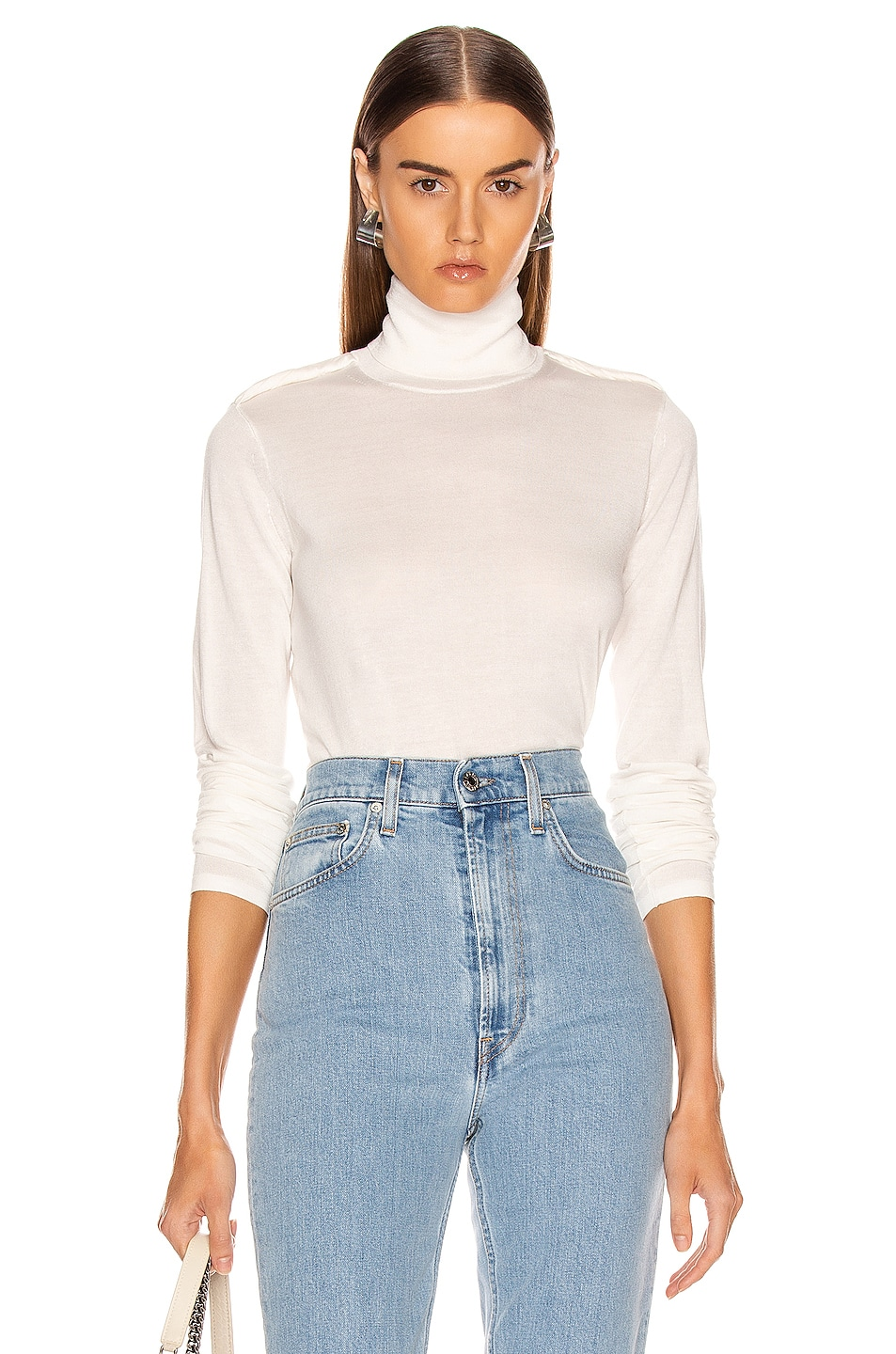 Image 1 of Helmut Lang Long Sleeve Twist Turtleneck Top in Ecru