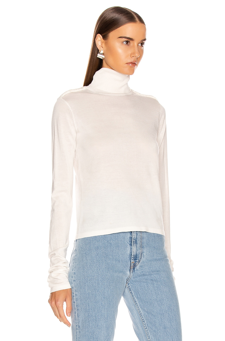 Image 2 of Helmut Lang Long Sleeve Twist Turtleneck Top in Ecru
