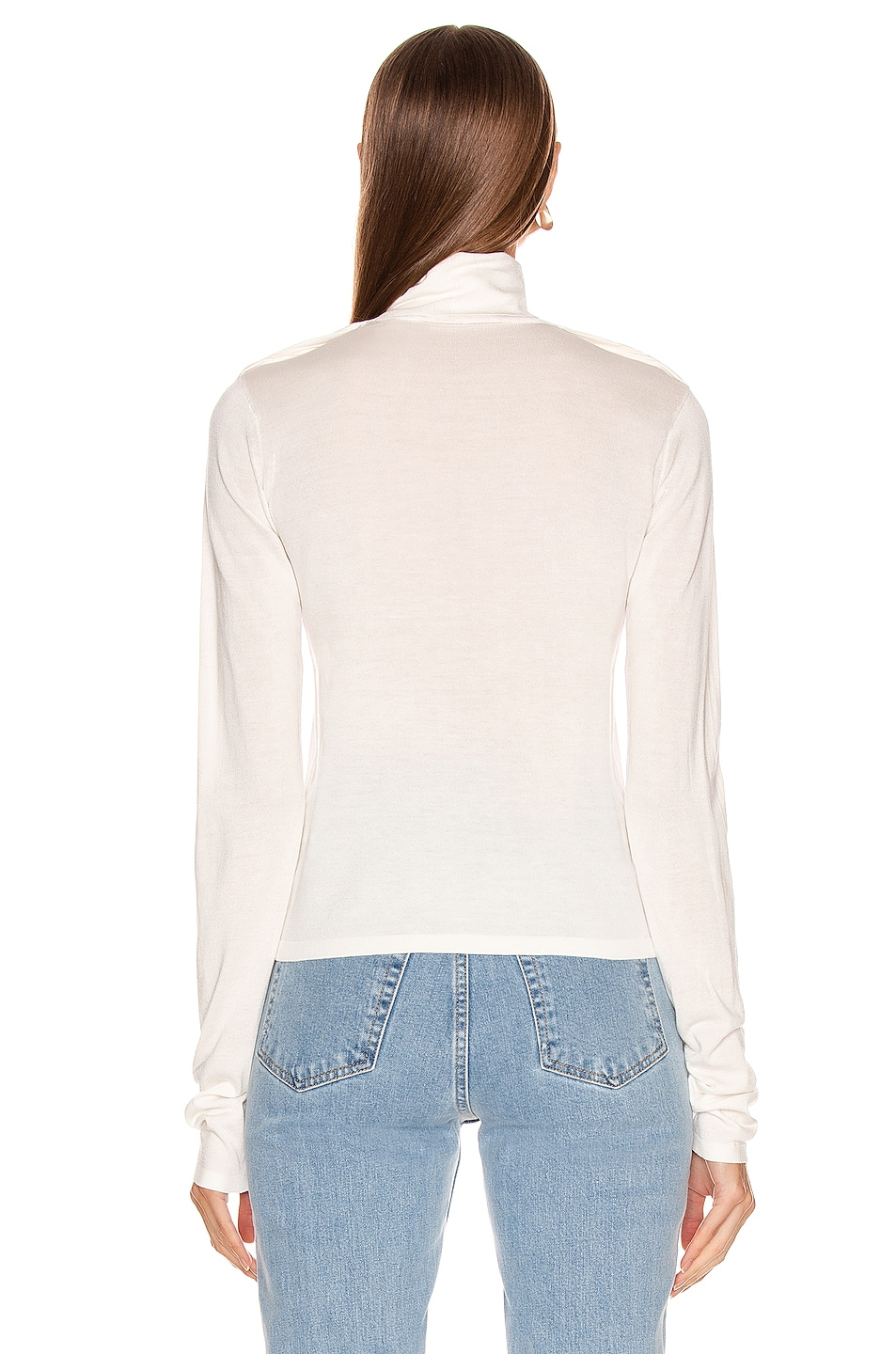 Image 3 of Helmut Lang Long Sleeve Twist Turtleneck Top in Ecru