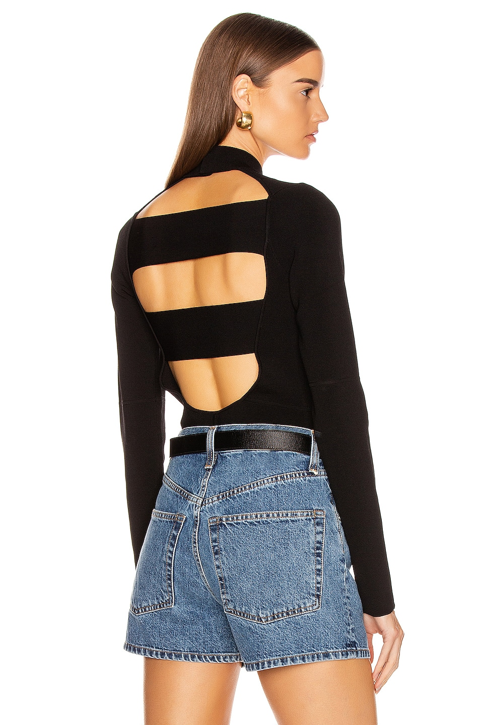 Image 1 of Helmut Lang Stretch Bodysuit in Black