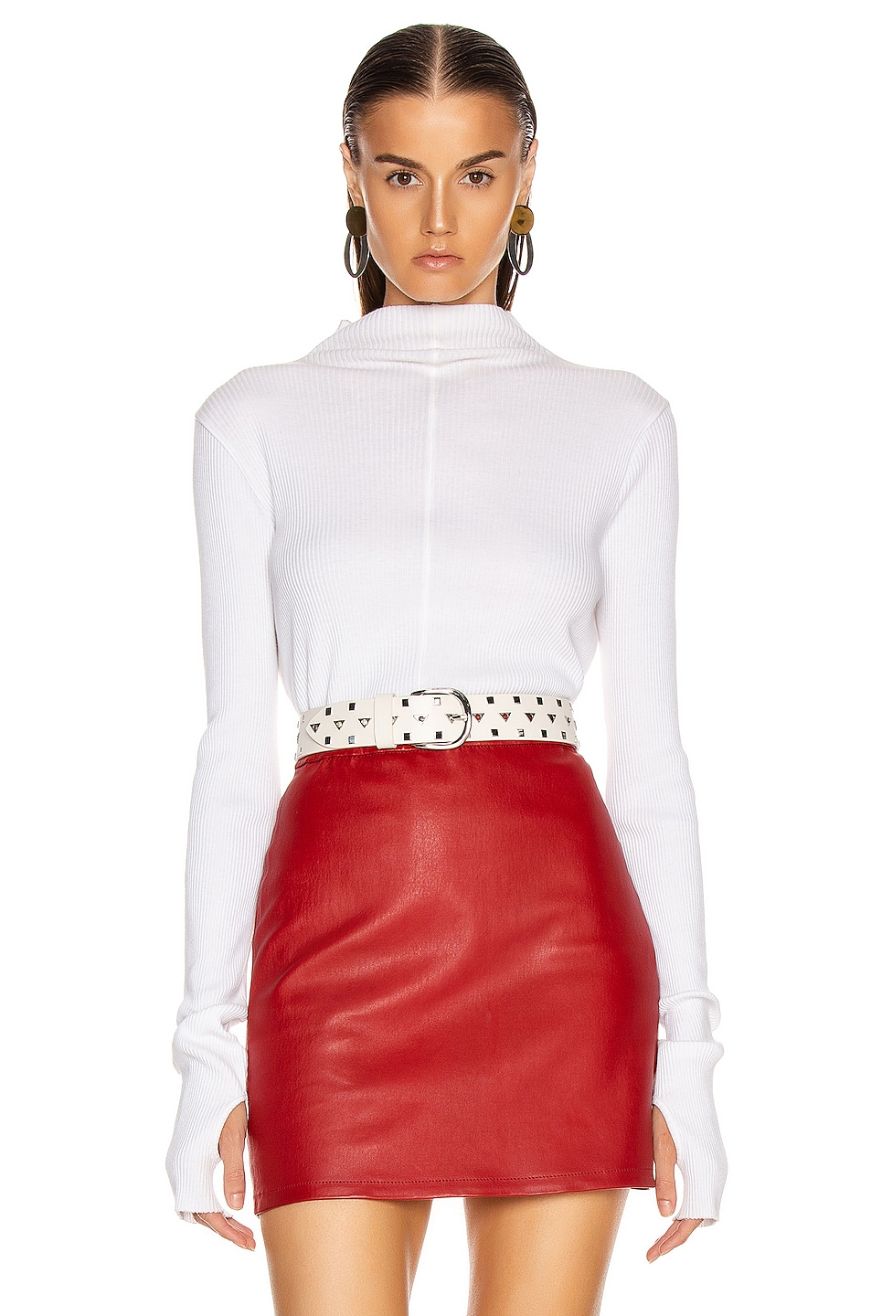 Image 1 of Helmut Lang High Neck Rib Top in White