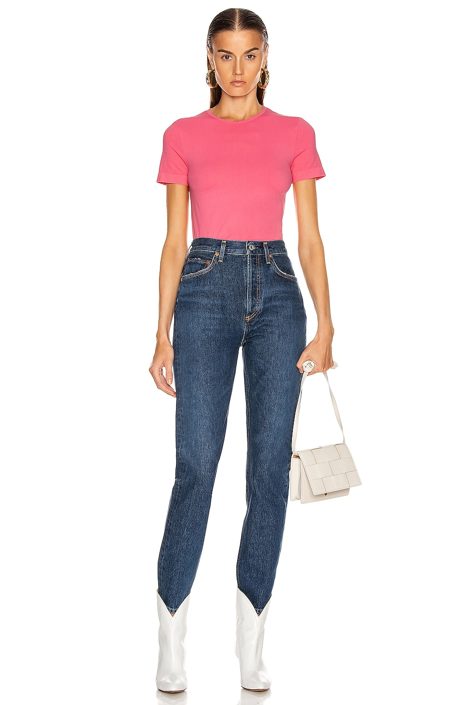 Image 4 of Helmut Lang Seamless Baby Tee in Prism Pink