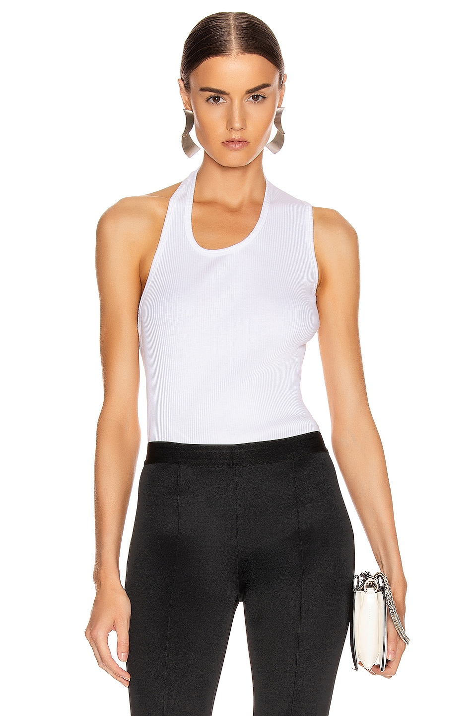 Image 2 of Helmut Lang Pulled Rib Tank Top in White