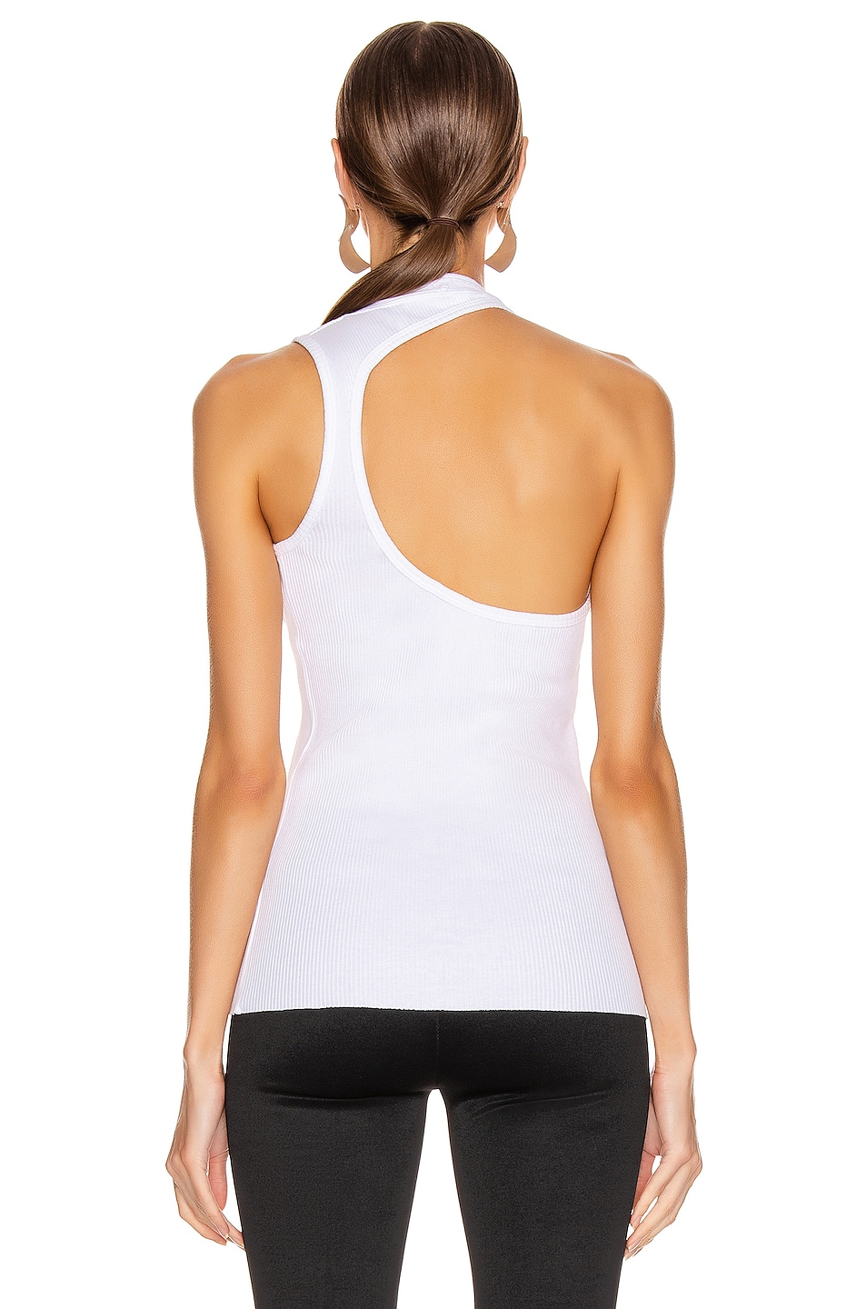 Image 4 of Helmut Lang Pulled Rib Tank Top in White