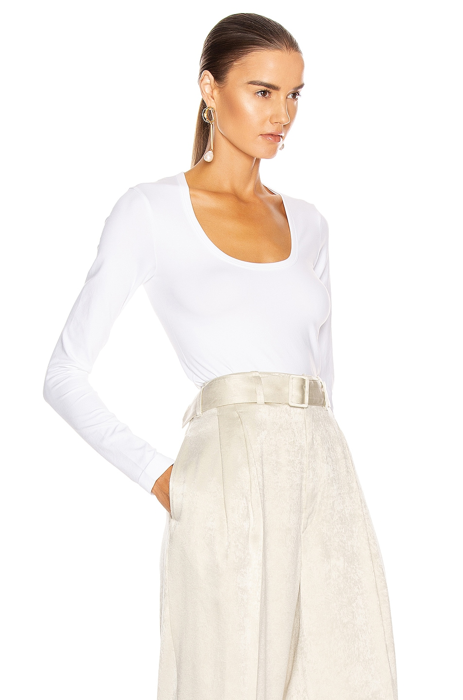 Image 2 of Helmut Lang Seamless Scoop Neck Long Sleeve Top in Optic White