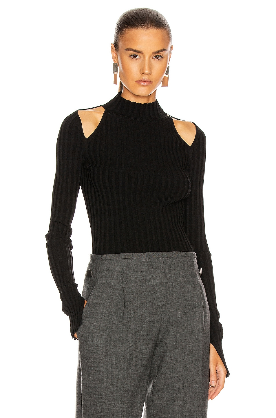 Image 1 of Helmut Lang Cutout Pullover Top in Black