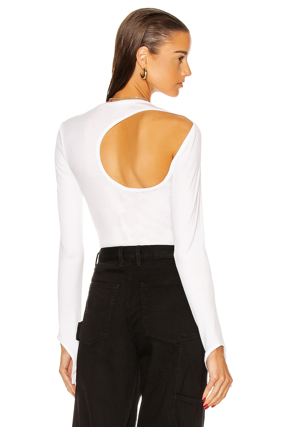 Image 1 of Helmut Lang Open Back Long Sleeve Top in Chalk White