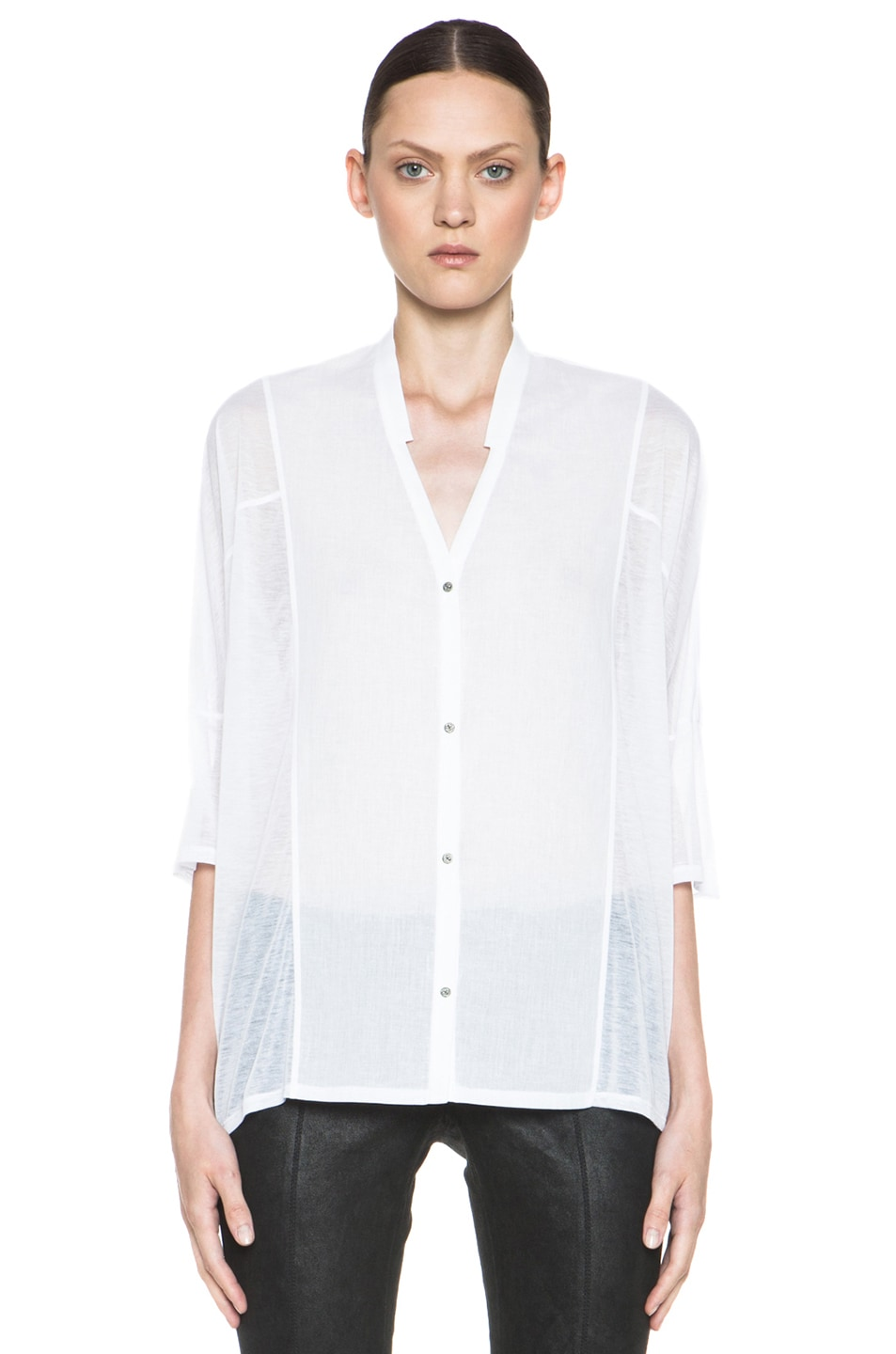 d5e7357d Image 1 of Helmut Lang Boxy Cotton Button Up Shirt in Optic White