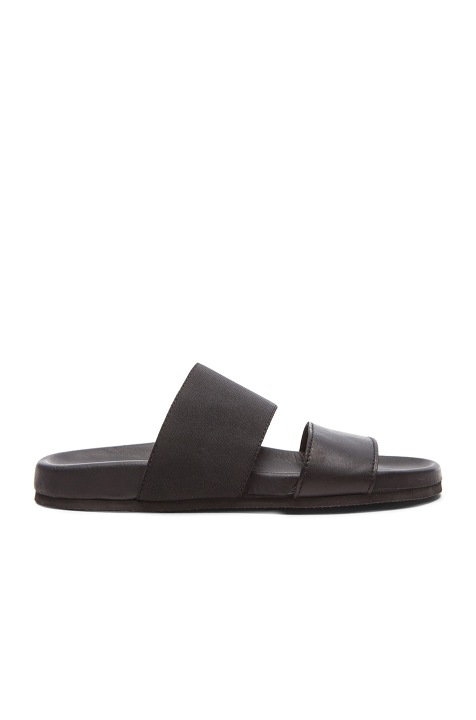 Image 1 of Helmut Lang Leather Beach Slides in Black