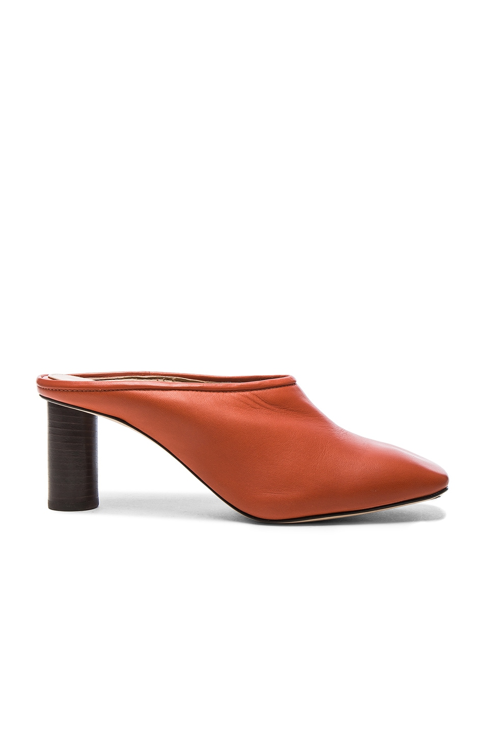 Image 1 of Helmut Lang Square Toe Leather Mules in Sard