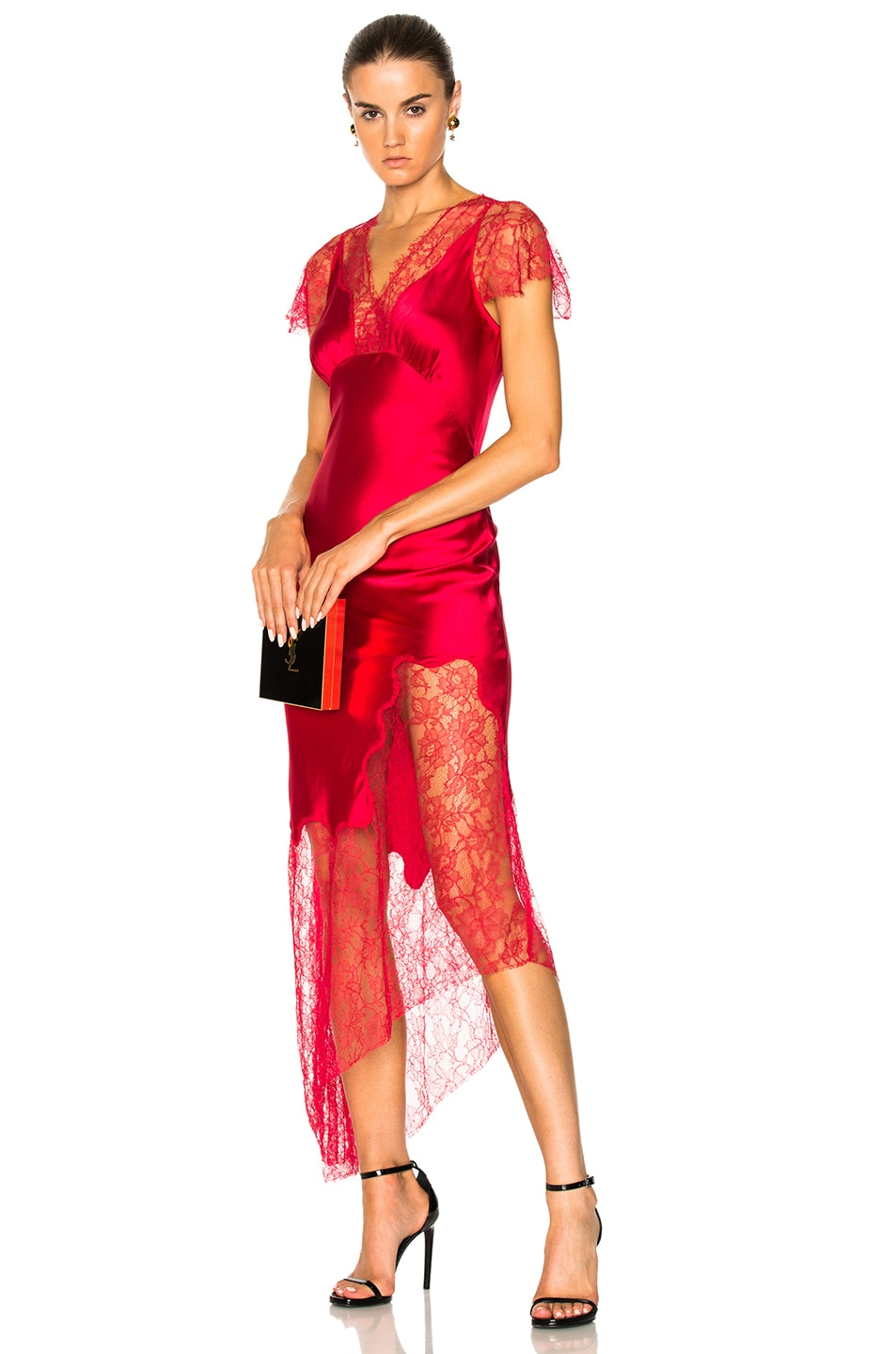 Felicia Asymmetric Silk-blend Satin And Lace Midi Dress - Red Haney Good Service J3g5NTc7