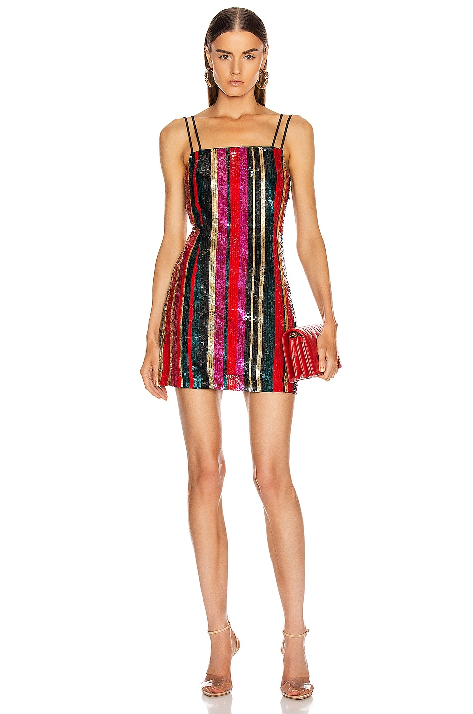 Image 1 of HANEY Elektra Mini Slip Dress in Multi Sequin