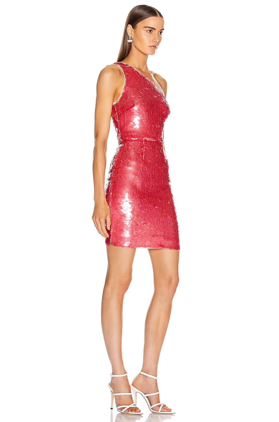 Image 2 of HANEY Serena One Shoulder Mini Dress in Dusty Rose Sequin